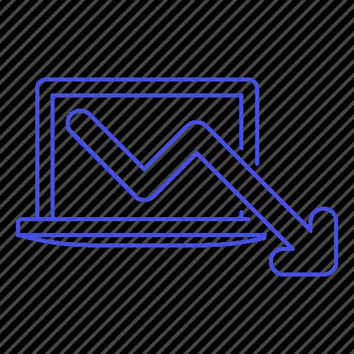analytics, arrow, business, decrease, decreasing, down, laptop, red icon
