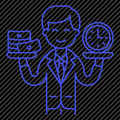 1, balance, business, cash, efficiency, efficient, man, money, productivity, strategy, time icon