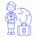 briefcase, business, cash, global, international, money, people, trip, woman, world icon