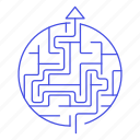 business, labyrinth, maze, perceptive, puzzle, strategy, success icon