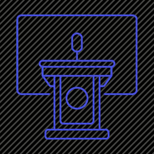 1, business, conference, microphone, podium, presentation, rostrum, speech, stand icon