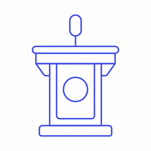 2, business, conference, microphone, podium, presentation, rostrum, speech, stand icon