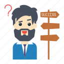 board, employee, success, confused, direction icon