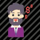 dollar, employee, man, money, pay
