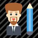 activity, editing, employee, pencil, staff