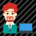 avatar, employee, laptop, user, working