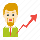 avatar, employee, graph, growth, user