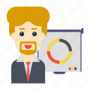board, employee, graph, presentation, user
