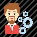 avatar, employee, gear, setting, user