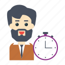 avatar, deadline, employee, stopwatch, user