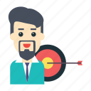 employee, goal, success, target, user