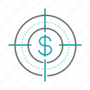business, dollar, finance, target icon