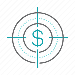 business, dollar, finance, marketing, target icon