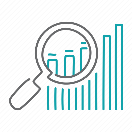analyze, finance, zoom icon