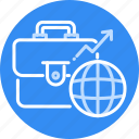 bag, business, globe, globel, growth, international, world icon