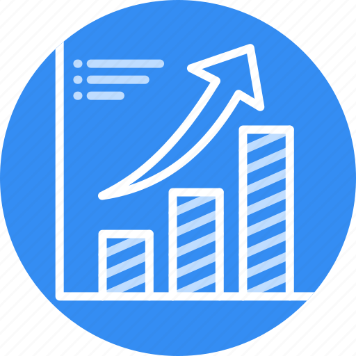 Bars, financial, success, chart, growth, arrow icon