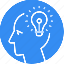 bulb, business, creative, head, idea, new, solution icon
