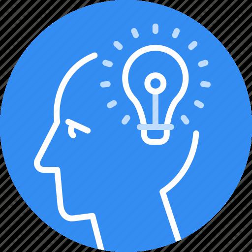 Head, business, idea, creative, bulb, new, solution icon