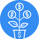 bank, dollar, finance, grow, money, plant, tree icon