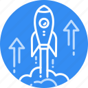 brand, business, fast, rocket, science, space, start icon