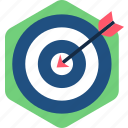 aim, arrow, bullseye, goal, hit, success, target icon