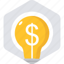 bulb, business, cash, dollar, idea, ideas, light icon