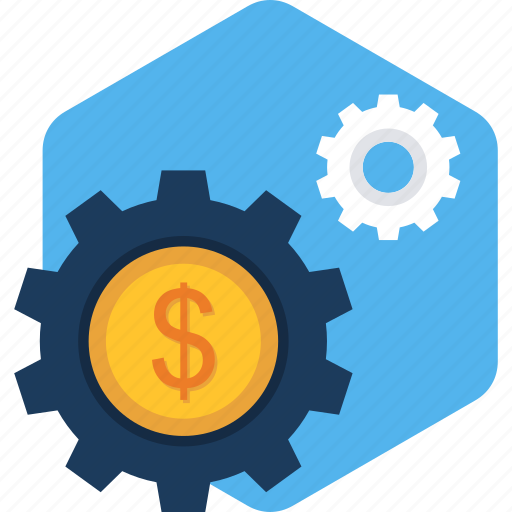 dollar, gear, options, process, processing, settings, time icon