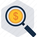 finance, money, revenue, search, seo, vision, web icon