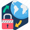 global, globe, internet, network, password, security, web icon