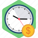 credit, dollar, finance, money, payment, time, timings icon