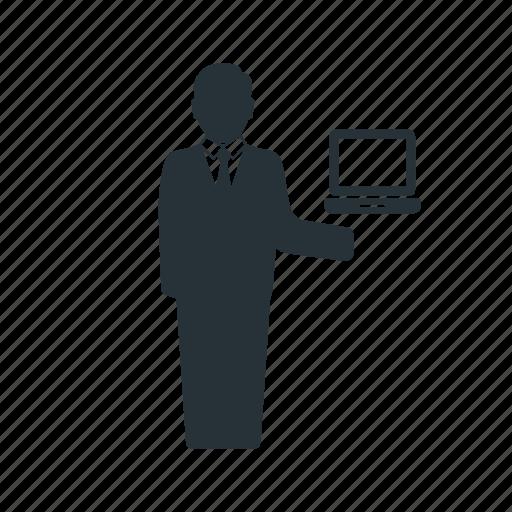 business, businessman, laptop, management, social, team, worker icon