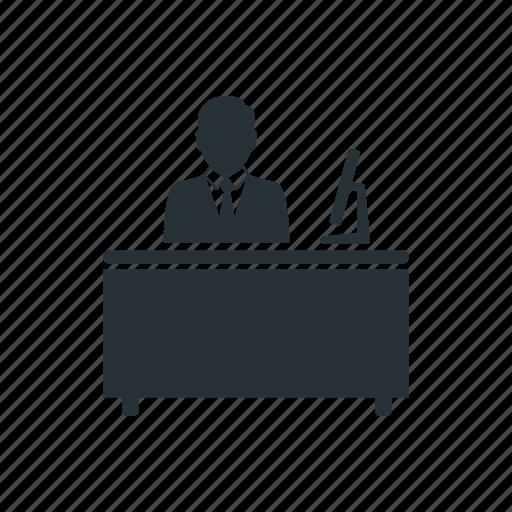 business, businessman, desk, management, social, team, worker icon