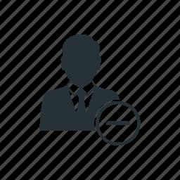 business, businessman, management, minus, social, team, worker icon