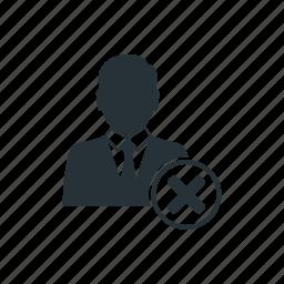 business, businessman, delete, management, social, team, worker icon