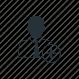 business, businessman, management, plus, social, team, worker icon