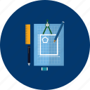 blueprint, design, education, modern, object, sketch, technology icon