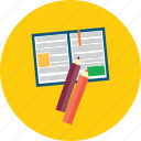 book, design, document, education, modern, object, pencil icon