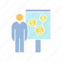 conference, corporation, finance, money, office, present, whiteboard icon