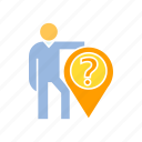 ask, corporation, location, people, person, pin, question icon