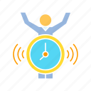alarm clock, alert, clock, deadline, person, warning icon