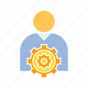 cog, corporation, gear, people, person, setting icon