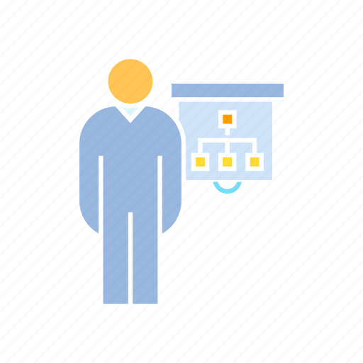 conference, executive, office, organization chart, present, whiteboard icon