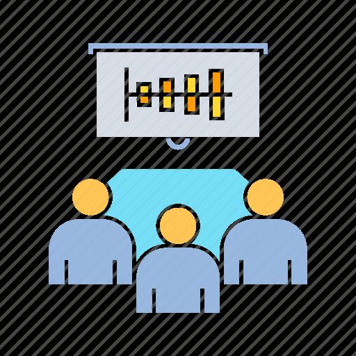 analyst, data, executive, meeting icon