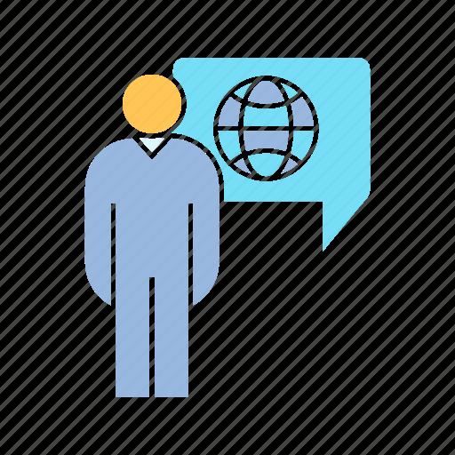 global, globe, person icon
