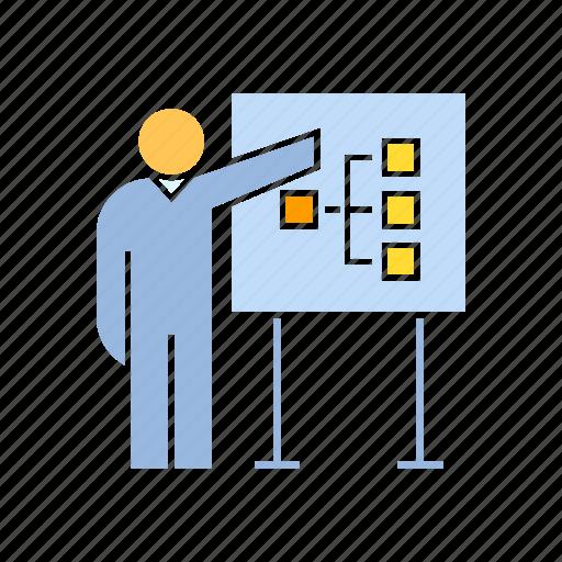 diagram, present, whiteboard icon