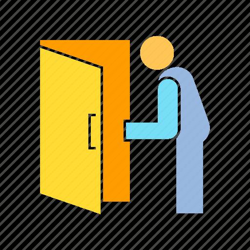 door, exit, open door icon