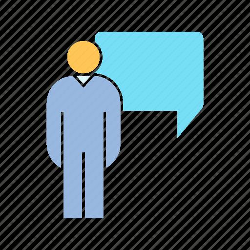 communicate, person, speech bubble icon
