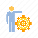 cog, gear, management, people, person icon