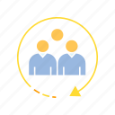 arrow, crowd, focus group, group, people, person, target group icon
