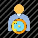 call center, call service, clock, contact, person, supporter, time icon